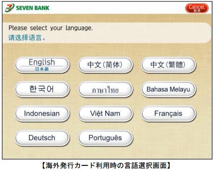 セブン銀行ATMでの多言語対応画面