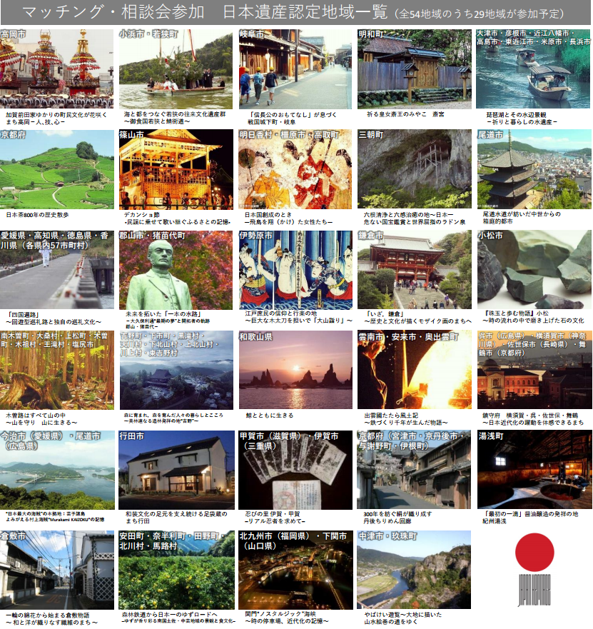 マッチング・相談会参加予定の日本遺産認定地域一覧