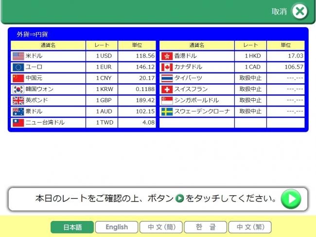 東京メトロ外貨自動両替機取引画面イメージ1